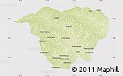 Physical Map of Mweka, cropped outside