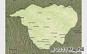 Physical Map of Mweka, darken
