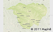 Physical Map of Mweka, lighten