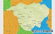 Physical Map of Mweka, political outside