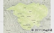 Physical Map of Mweka, semi-desaturated
