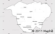 Silver Style Simple Map of Mweka, cropped outside