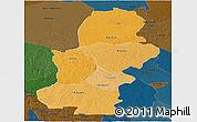 Political Shades Panoramic Map of Kasai, darken