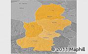 Political Shades Panoramic Map of Kasai, desaturated