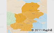 Political Shades Panoramic Map of Kasai, lighten