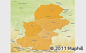 Political Shades Panoramic Map of Kasai, physical outside