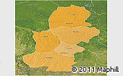 Political Shades Panoramic Map of Kasai, satellite outside