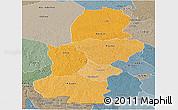 Political Shades Panoramic Map of Kasai, semi-desaturated