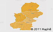 Political Shades Panoramic Map of Kasai, single color outside