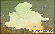 Physical Panoramic Map of Kasai-Occidental, darken