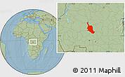 Savanna Style Location Map of Kole, hill shading