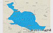 Political Panoramic Map of Kole, shaded relief outside