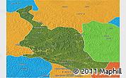 Satellite Panoramic Map of Kole, political outside