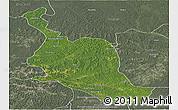 Satellite Panoramic Map of Kole, semi-desaturated