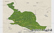 Satellite Panoramic Map of Kole, shaded relief outside