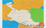 Shaded Relief Panoramic Map of Kole, political outside