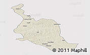 Shaded Relief Panoramic Map of Kole, single color outside