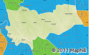 Physical Map of Lomela, political outside