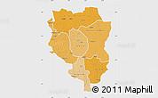 Political Shades Map of Sankuru, single color outside