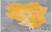 Political Shades Panoramic Map of Sankuru, desaturated