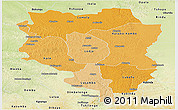 Political Shades Panoramic Map of Sankuru, physical outside