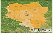 Political Shades Panoramic Map of Sankuru, satellite outside
