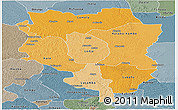 Political Shades Panoramic Map of Sankuru, semi-desaturated