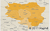 Political Shades Panoramic Map of Sankuru, shaded relief outside