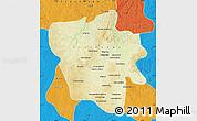 Physical Map of Tshilenge, political outside