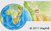 Physical Location Map of Kinshasa Urban, highlighted parent region