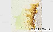 Physical Map of Kivu, lighten