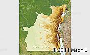 Physical Map of Kivu, satellite outside