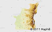 Physical Map of Kivu, single color outside