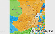 Political Shades 3D Map of Nord-Kivu