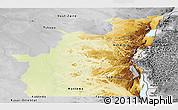 Physical Panoramic Map of Kivu, desaturated