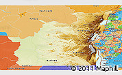 Physical Panoramic Map of Kivu, political shades outside
