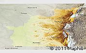 Physical Panoramic Map of Kivu, semi-desaturated
