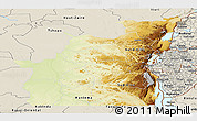 Physical Panoramic Map of Kivu, shaded relief outside