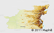 Physical Panoramic Map of Kivu, single color outside