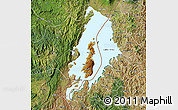 Physical Map of Lake Kivu, satellite outside