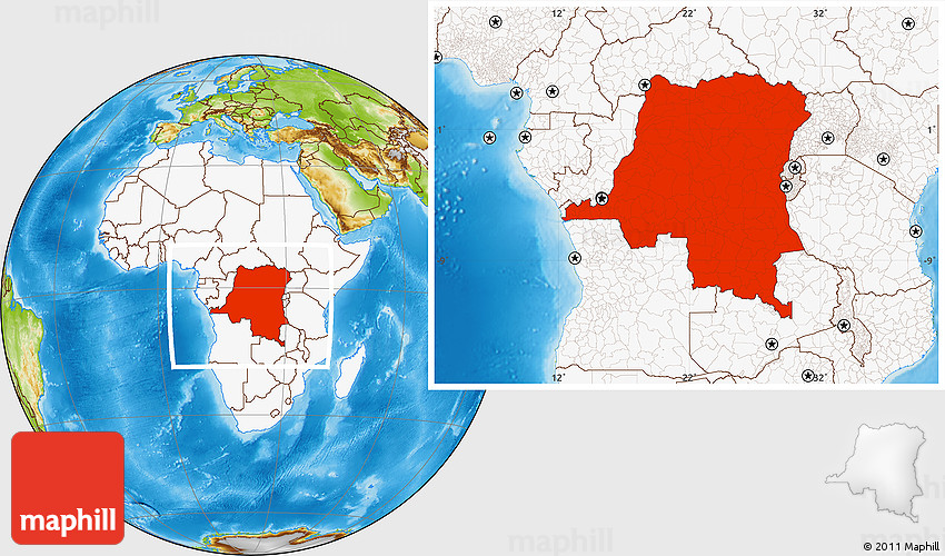 Democratic World Map.Physical Location Map Of Democratic Republic Of The Congo