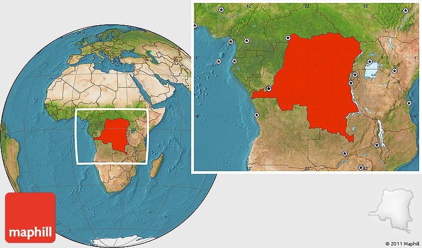 Satellite Location Map of Democratic Republic of the Congo