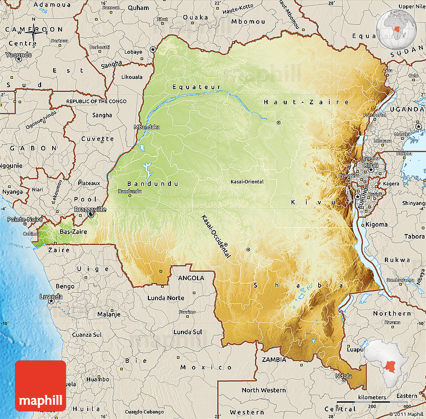Physical Map of Democratic Republic of the Congo shaded relief outside
