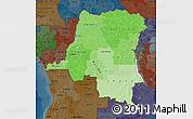 Political Shades Map of Democratic Republic of the Congo, darken
