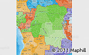 Political Shades Map of Democratic Republic of the Congo