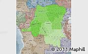 Political Shades Map of Democratic Republic of the Congo, semi-desaturated