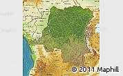 Satellite Map of Democratic Republic of the Congo, physical outside, satellite sea