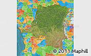 Satellite Map of Democratic Republic of the Congo, political outside, satellite sea