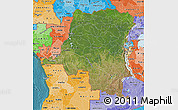 Satellite Map of Democratic Republic of the Congo, political shades outside, satellite sea