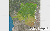 Satellite Map of Democratic Republic of the Congo, semi-desaturated, land only